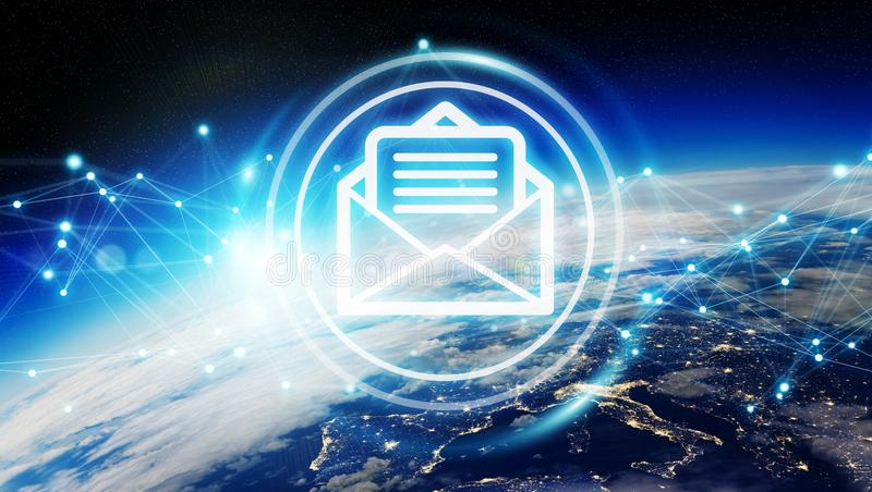 Emails exchanges on planet Earth 3D rendering vector illustration
