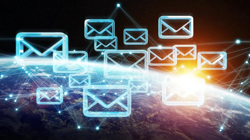 Emails exchanges on planet Earth 3D rendering royalty free illustration