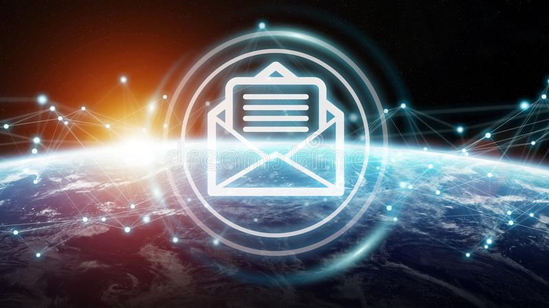 Emails exchanges on planet Earth 3D rendering stock illustration