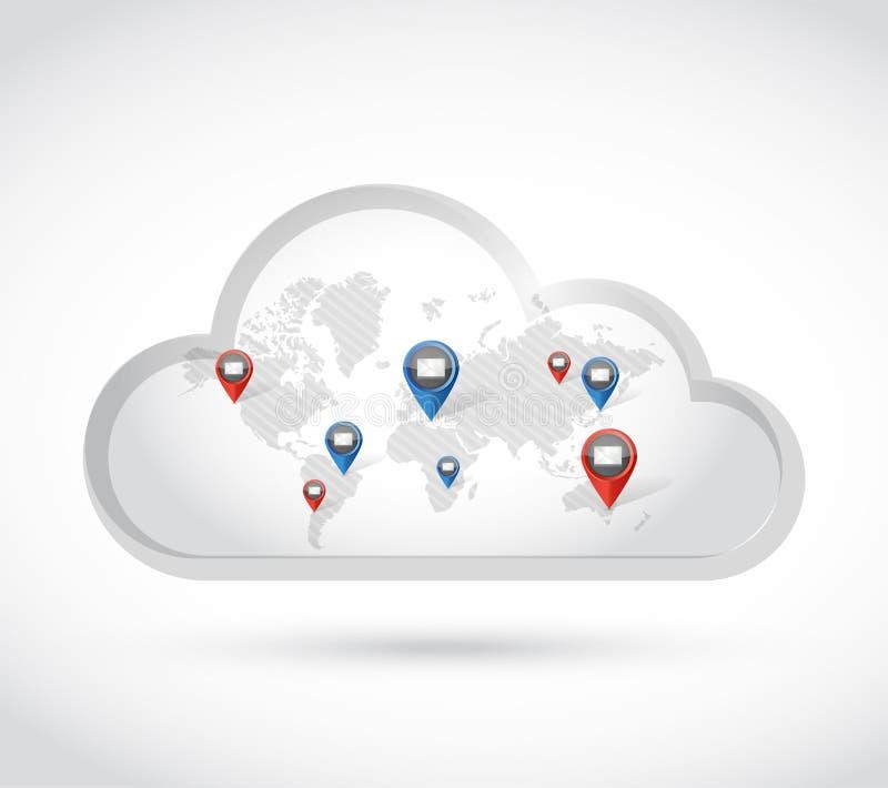 emails för molnvärldskartakommunikation illustration vektor illustrationer
