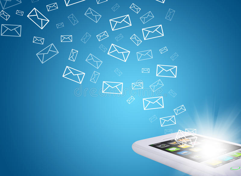 Emails fly out of smartphone screen. The concept of e-mailing stock illustration