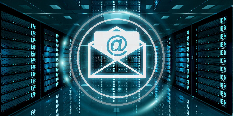 Emails flying over server room data center 3D rendering stock illustration
