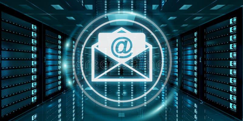 Emails volant au-dessus du rendu du centre de traitement des données 3D de pièce de serveur illustration stock