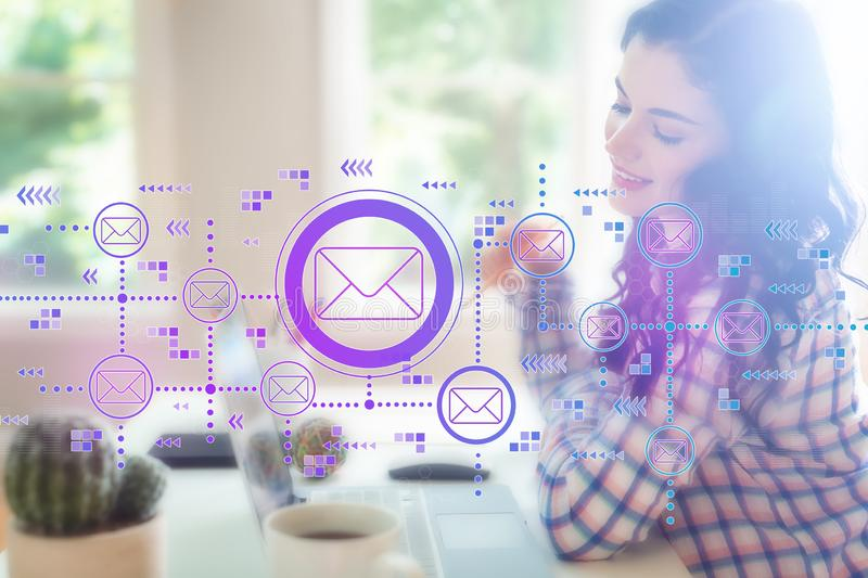 Emails with young woman. Holding a pencil stock illustration