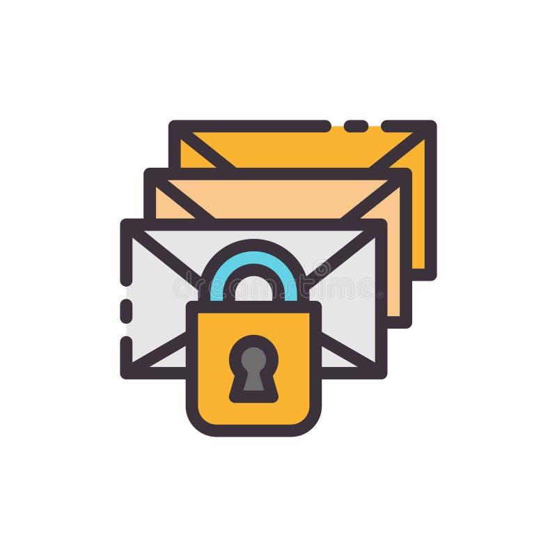 Emailskydd Spammingblocker Vektorfärgsymbol royaltyfri illustrationer