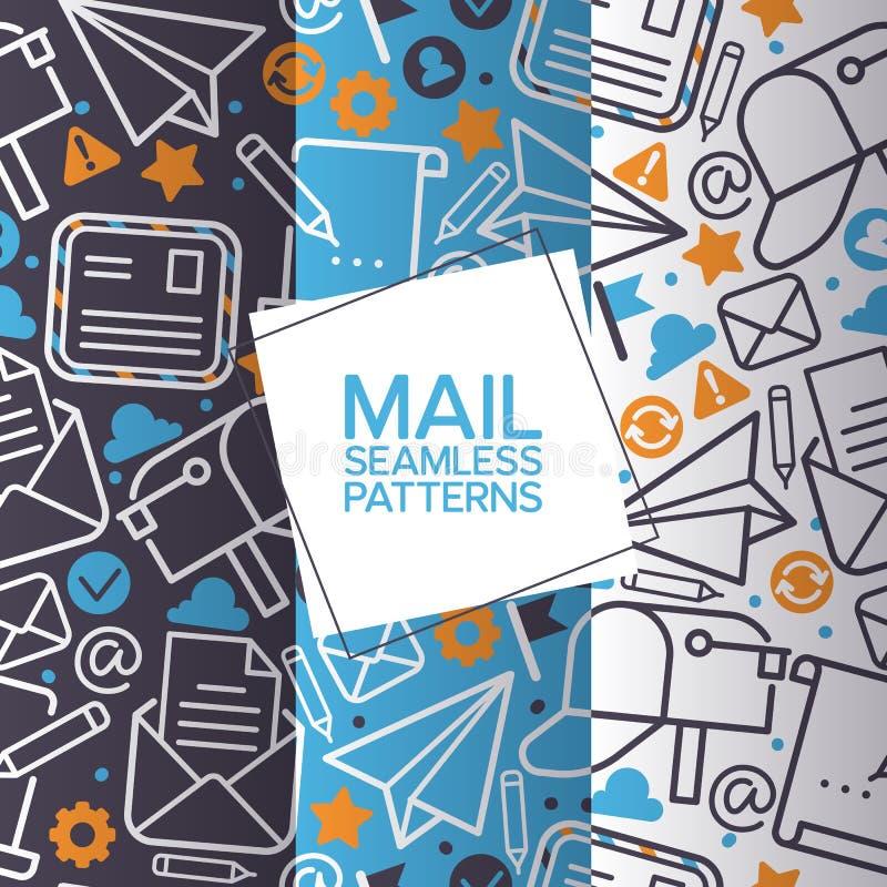 Emailsymboler ställde in av sömlösa modeller Bokstav för vektorpostbeståndsdelar, kuvert, stämpel, stolpeask, packe, blyertspenna vektor illustrationer