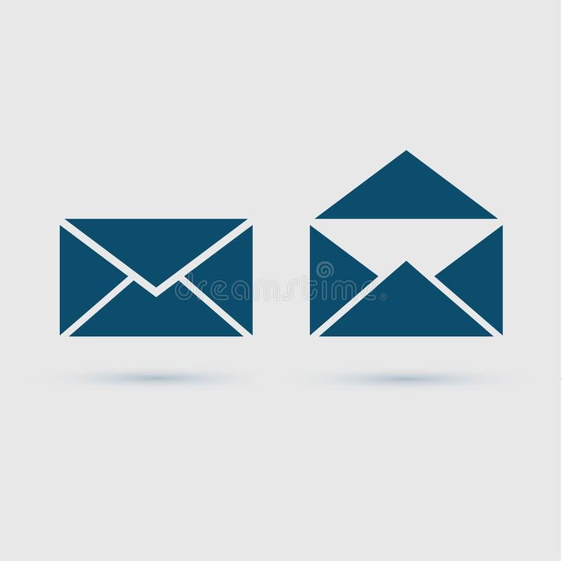 Emailsymbolskuvert, vektorillustration stock illustrationer