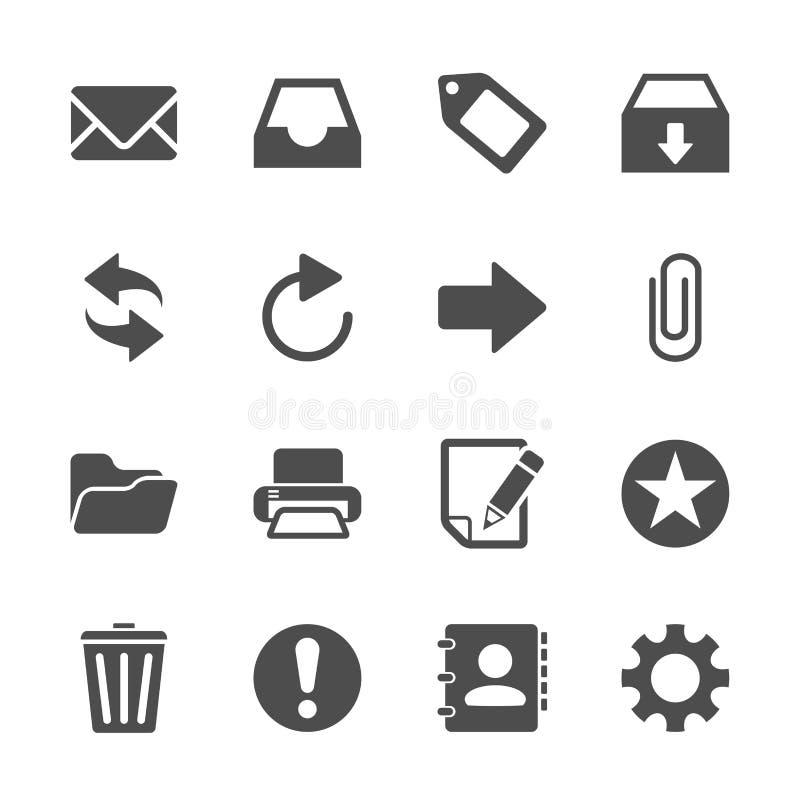 Emailsymbolsuppsättning, vektor eps10 stock illustrationer