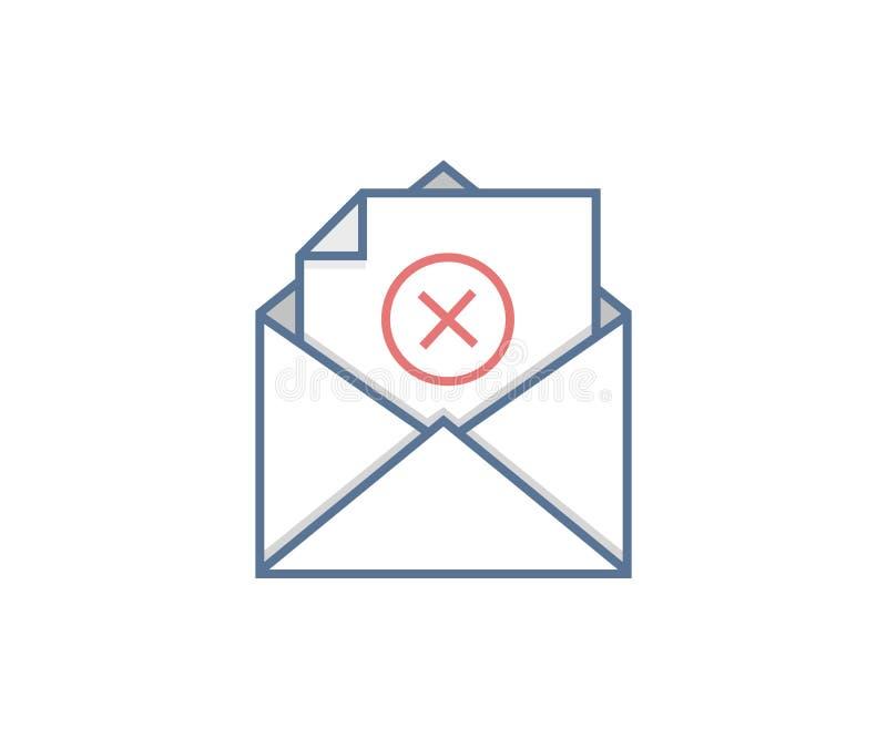 Emailtransaktionsfel Missad meddelandeöverföring Vektorsymbolsdesign royaltyfri illustrationer