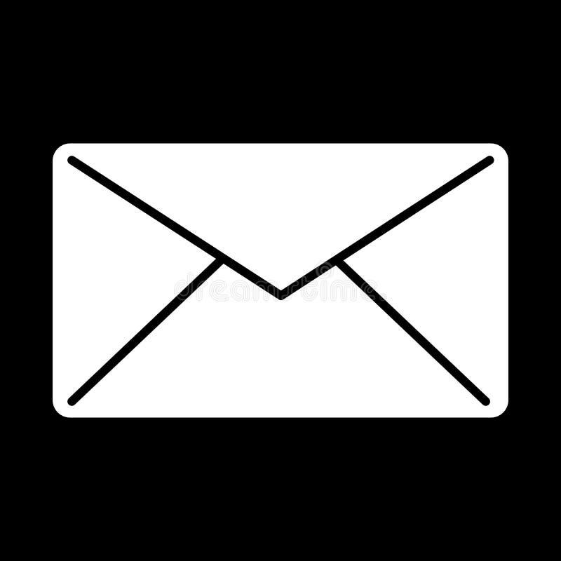 Emailvektorsymbol Svartvit postillustration Fast linjär meddelandesymbol stock illustrationer