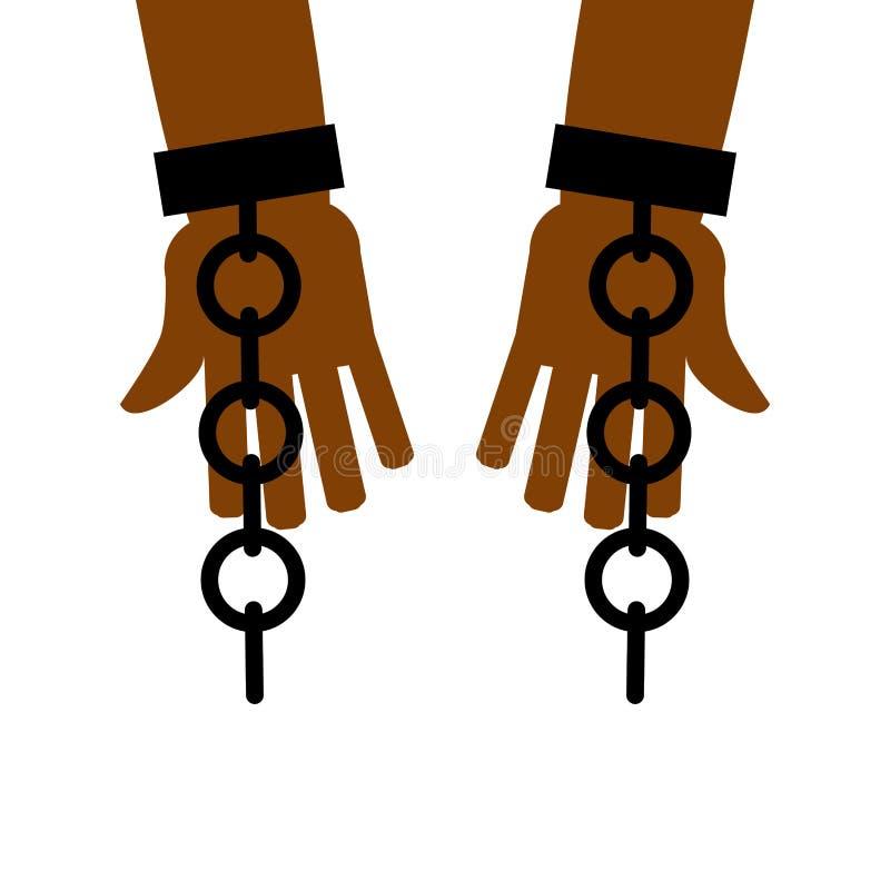 Emancipação da escravidão A ruptura livra Correntes nas mãos do escravo ilustração do vetor