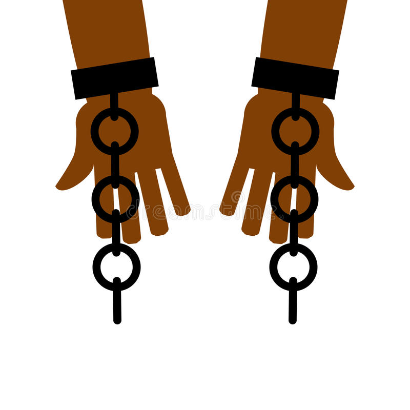 Emancipation from slavery. break free. Chains on slave hands. Release from bondage vector illustration