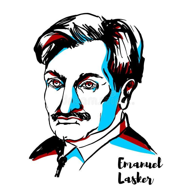 Emanuel Lasker portret royalty ilustracja
