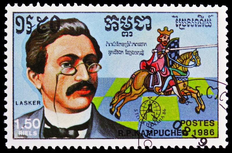 Emanuel Lasker 1868-1941, `Stockholmia 86` Int. Stamp Exhibition serie, circa 1986. MOSCOW, RUSSIA - FEBRUARY 21, 2019: A stamp printed in Laos shows Emanuel stock photos
