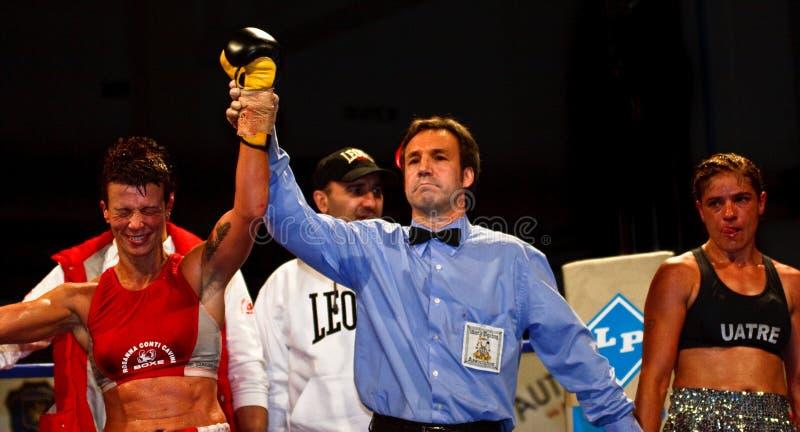 Emanuela Pantani versus Bettina Garino - WBA BOXE royalty-vrije stock afbeeldingen