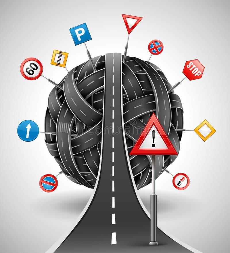 Emaranhado das estradas com os sinais