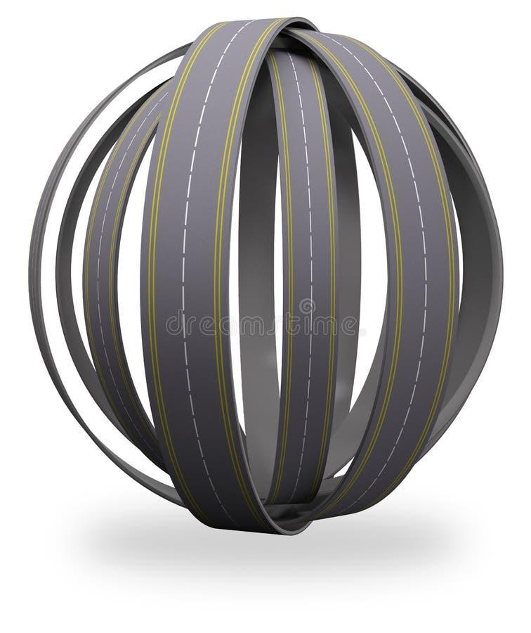 Emaranhado redondo da esfera das estradas ilustração do vetor