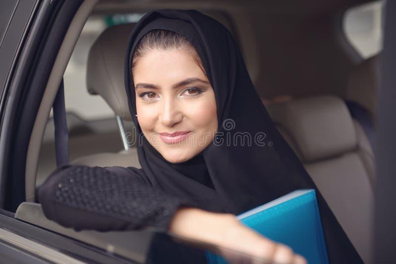 Emarati Arab Business woman in the car stock image
