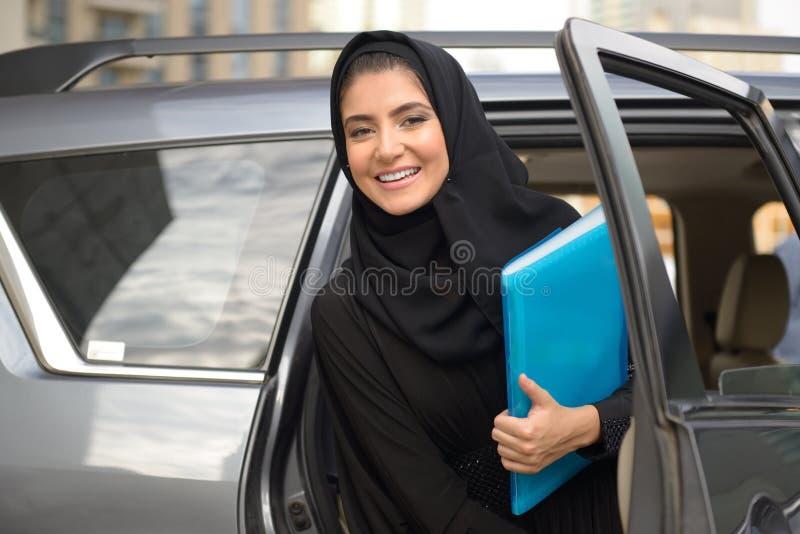 Emarati Arab Business woman in the car stock photos
