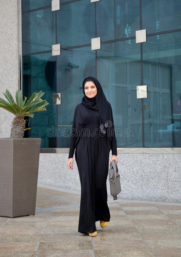 Emarati Arab Business woman outside the office stock image