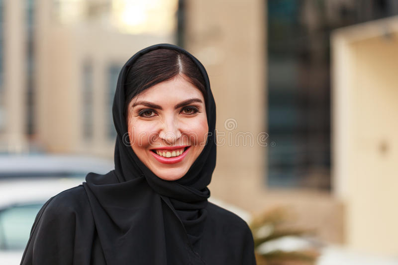 Emarati Arab Business woman outside the office stock images