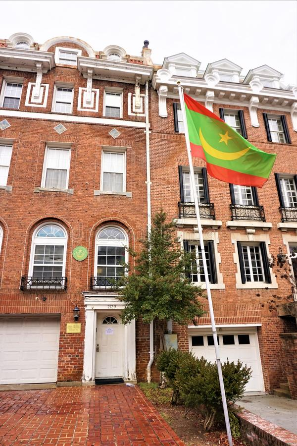 Embaixada da bandeira de Mauritânia fotos de stock royalty free