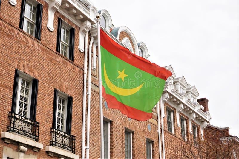Embaixada da bandeira de Mauritânia foto de stock royalty free