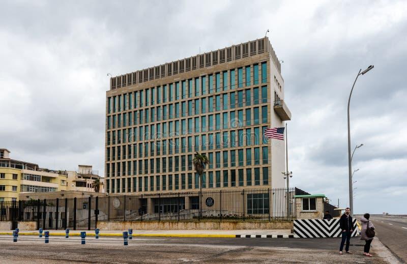 Embaixada do Estados Unidos em Havana, Cuba fotografia de stock royalty free