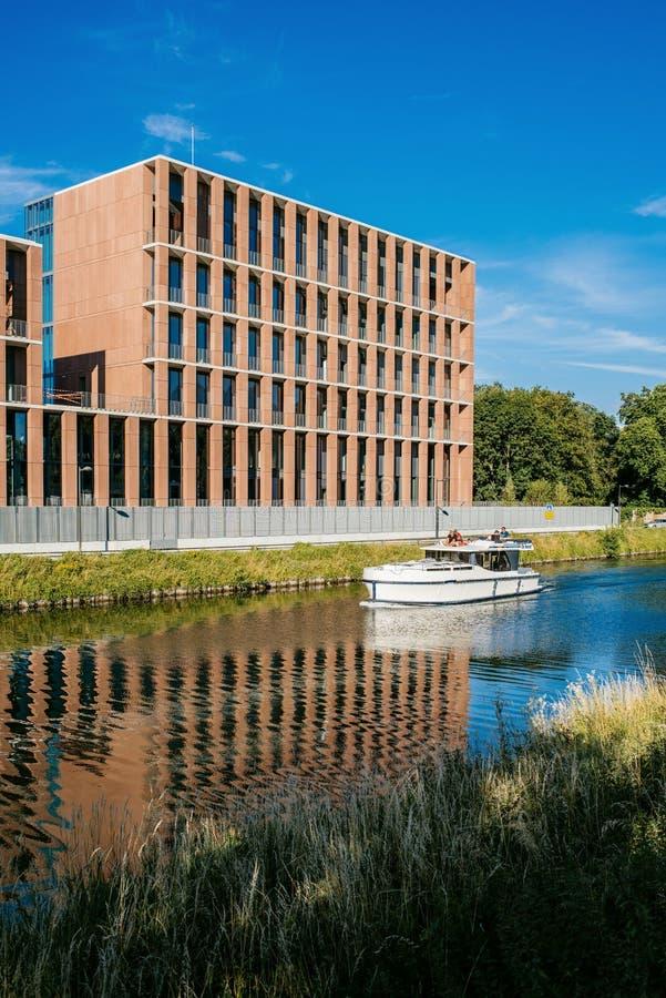 Embaixada turca no iate luxuoso do barco da construção de Strasbourg fotografia de stock royalty free