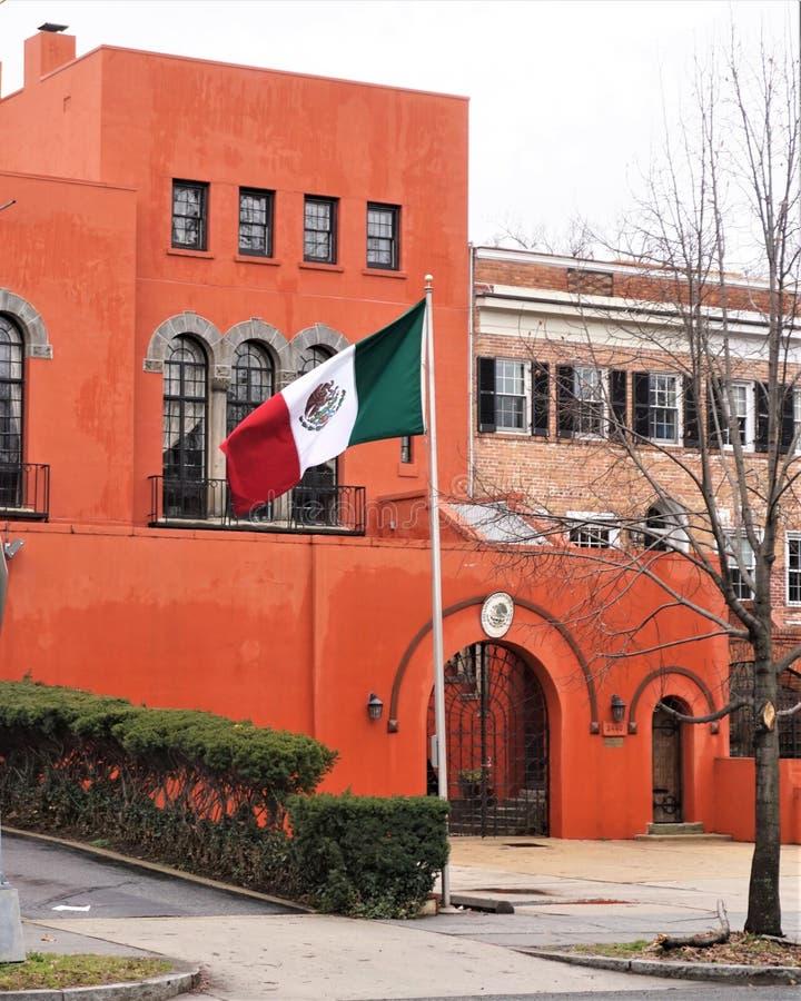 Embajada de la bandera de México foto de archivo