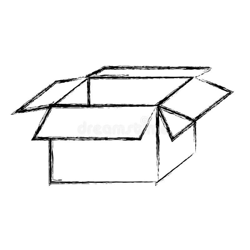 embalaje borroso de la silueta abierto y vacío stock de ilustración