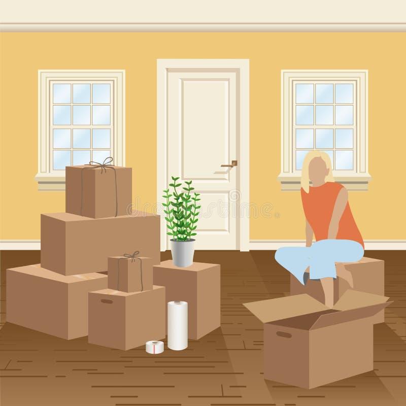 Embalaje casero y ejemplo móvil Cajas de cartón, guita que embala y abrigo del estiramiento Mujer en el cuarto ilustración del vector