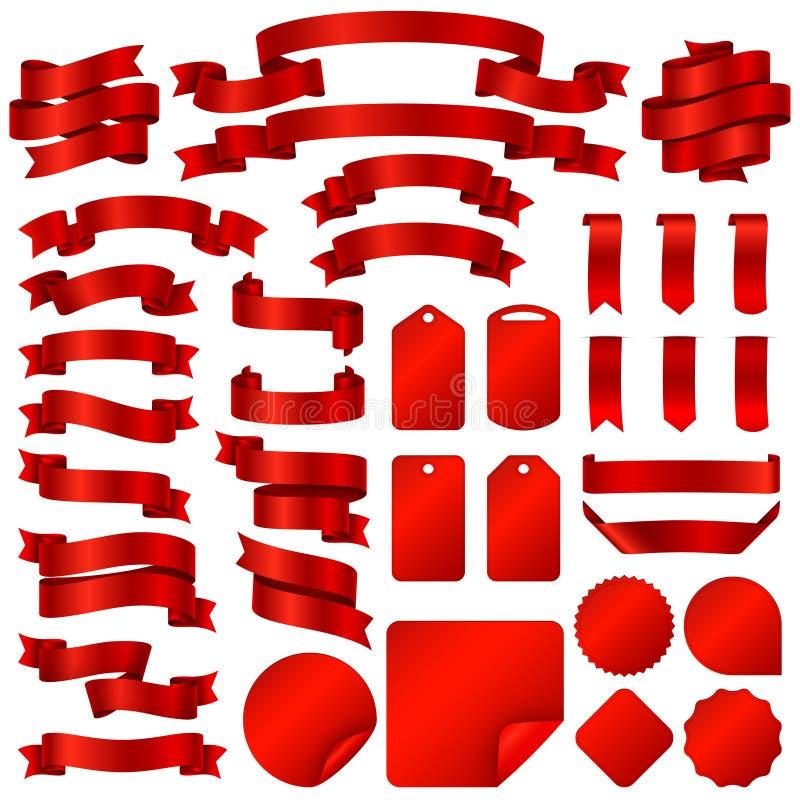 Embalaje de banderas de la cinta y del sistema rojos del vector de las insignias del precio ilustración del vector