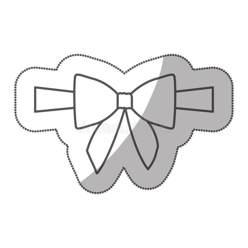 embalaje de la cinta y del arco del centro del satén de la silueta de la etiqueta engomada ilustración del vector