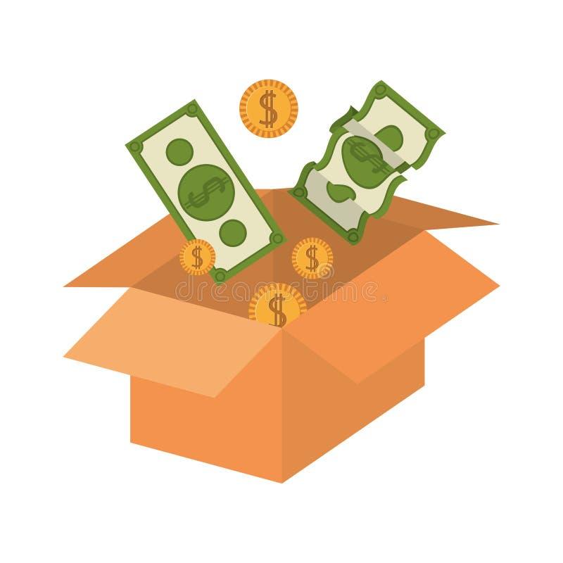 Embalaje de la silueta abierto con el dinero stock de ilustración