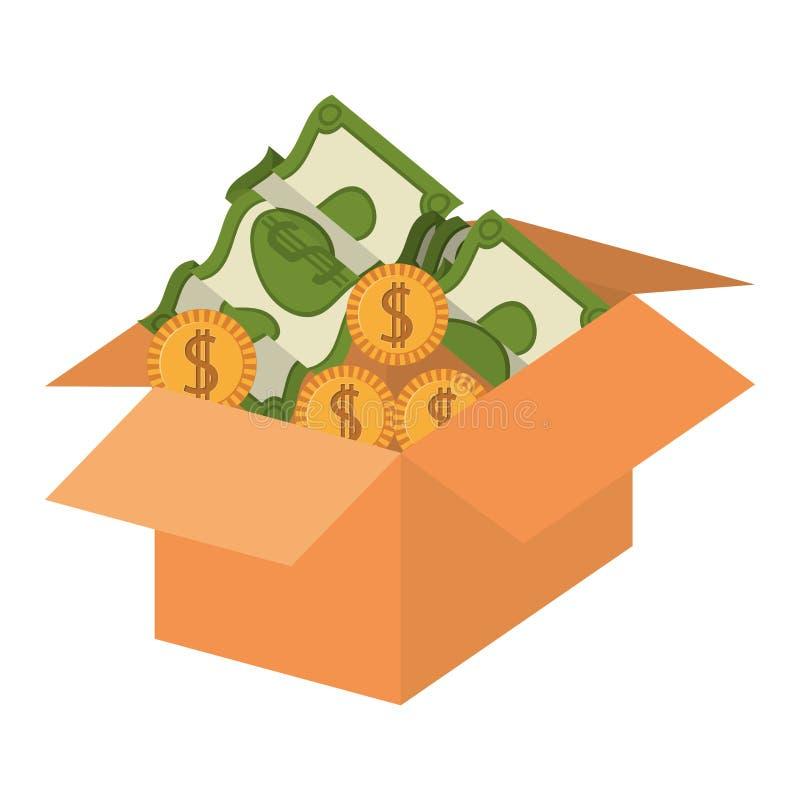 Embalaje de la silueta abierto con las monedas y los dólares ilustración del vector