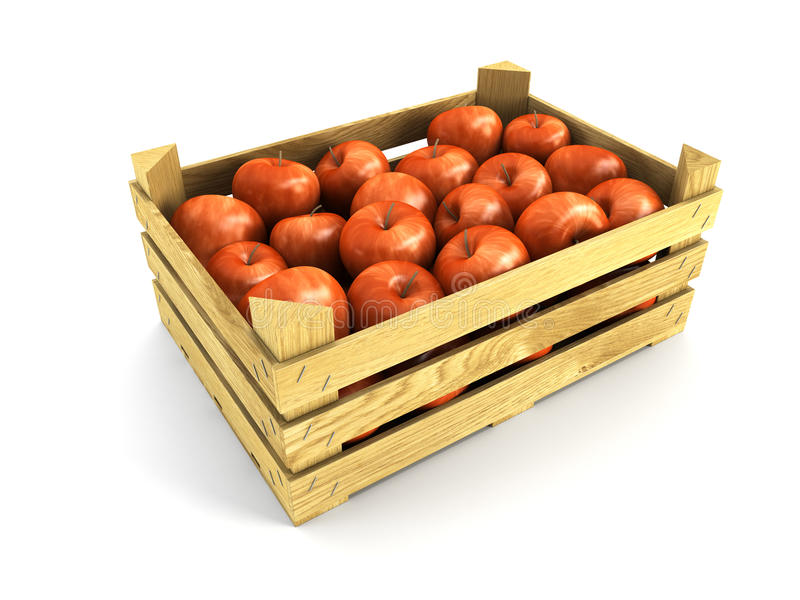 Embalaje de madera por completo de manzanas ilustración del vector