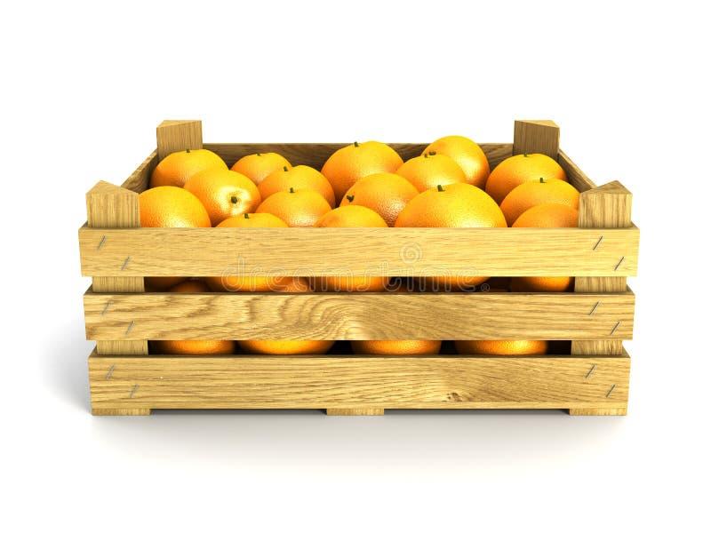 Embalaje de madera por completo de naranjas. fotos de archivo