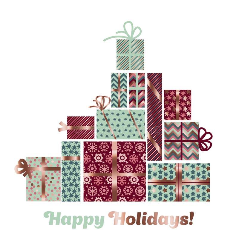 Embalaje de Navidad del extracto del color oro de Rose stock de ilustración