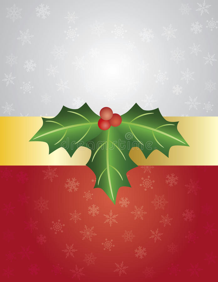 Embalaje de regalo de la Navidad con las bayas del acebo libre illustration