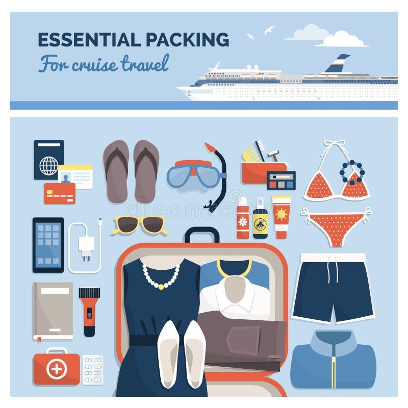 Embalaje esencial para un viaje de la travesía libre illustration
