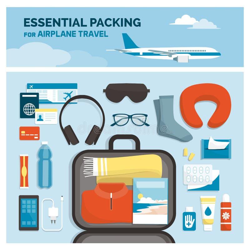Embalaje esencial para viajar del aeroplano ilustración del vector