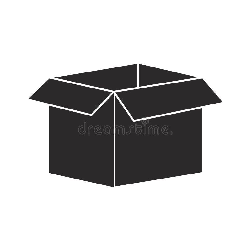 Embalaje negro de la silueta abierto y vacío stock de ilustración