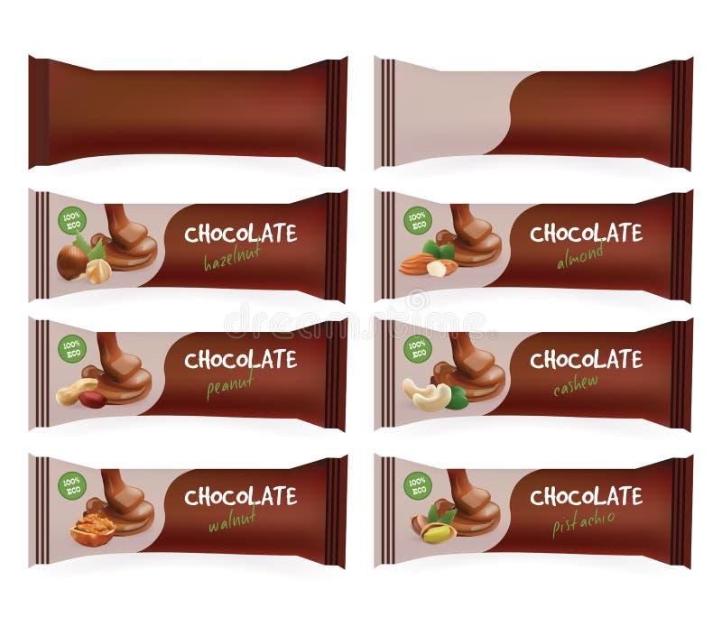 Emballage alimentaire de blanc de Brown de vecteur pour le biscuit, gaufrette, bonbons, barre de chocolat, friandise, casse-croût illustration stock