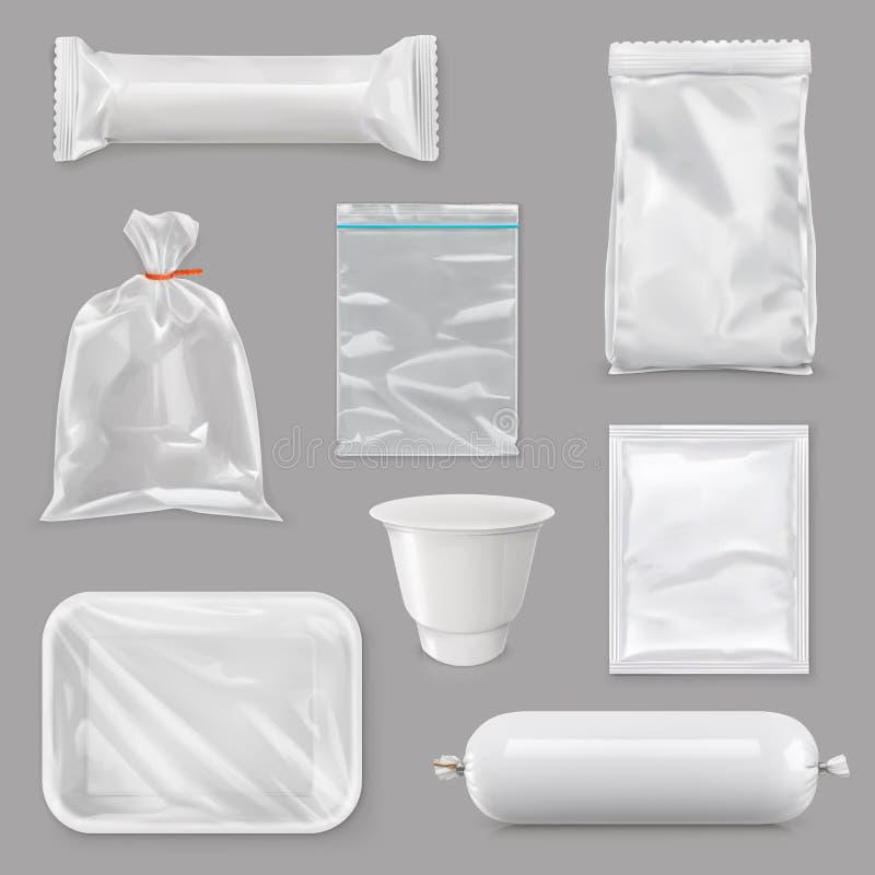 Emballage alimentaire pour différents produits de casse-croûte illustration libre de droits