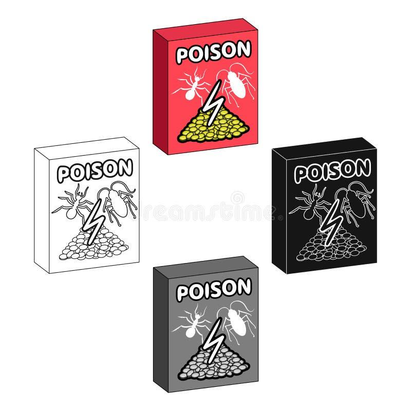 Emballage avec l'icône simple de poison dans la bande dessinée, noir, noir, contour, style monochrome pour la conception Vecteur  illustration de vecteur
