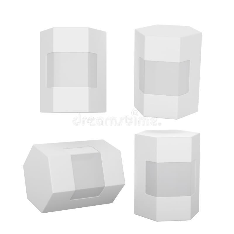Emballage blanc de boîte d'hexagone avec le chemin de coupure illustration de vecteur