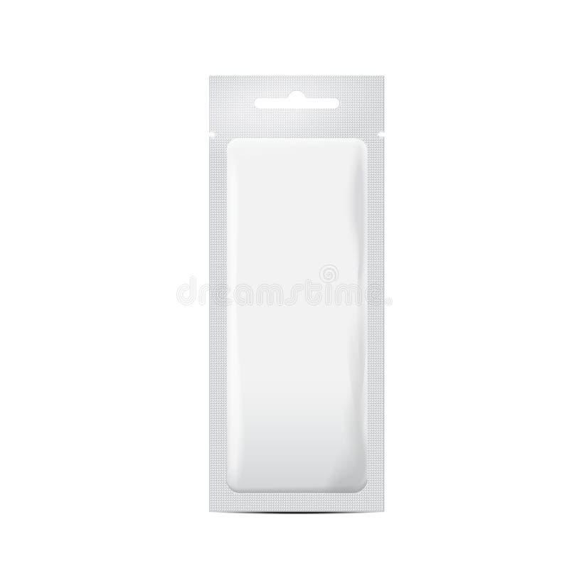 Emballage blanc de sac de sachet de poche d'aluminium pour des cosmétiques, drogues de médecine, produit alimentaire Moquerie réa illustration libre de droits