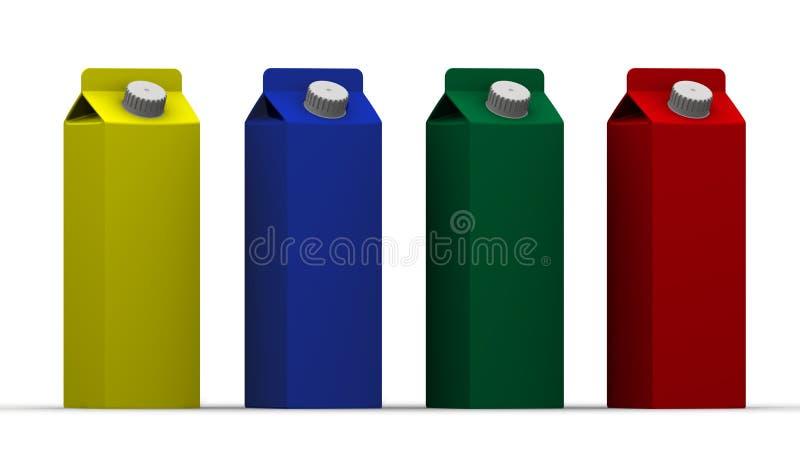 Emballage coloré de boisson dans une rangée illustration stock