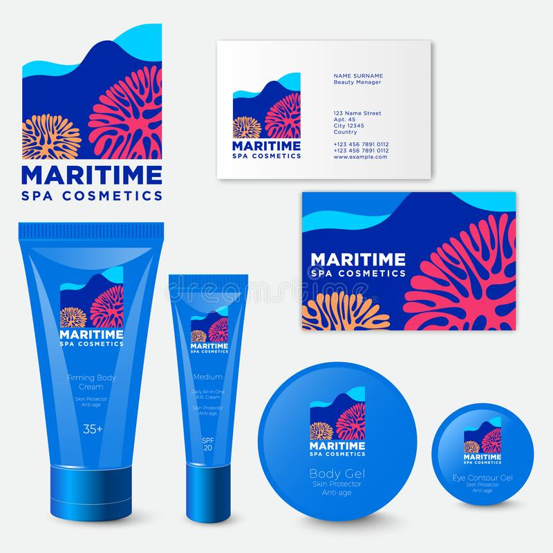 Emballage cosmétique de station thermale maritime Logo cosmétique de station thermale maritime illustration stock